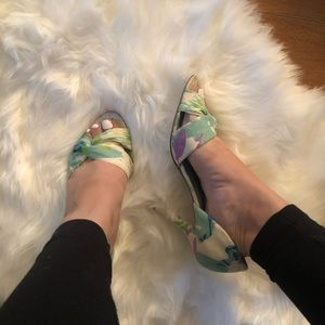 Nine West Green White Summer Peep Toe High Heels